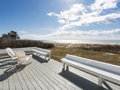 Photo for This beautiful Maine rental in Kennebunk has a private beach and ocean views. The Sandpiper also has