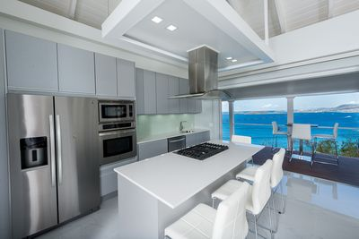 kitchen with view of Caribbean Sea