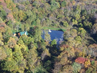 Aerial View of Cabin overlooking Pond