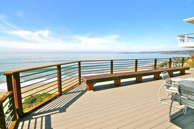 Ocean front deck with new Outdoor Dining and Gas Grill..