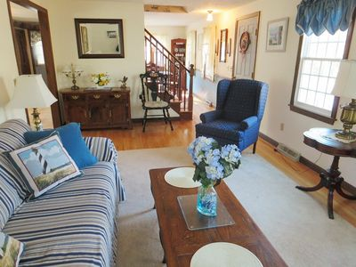 Living room - house has central air! - 1 Heather Road South Harwich Cape Cod New England Vacation Rentals