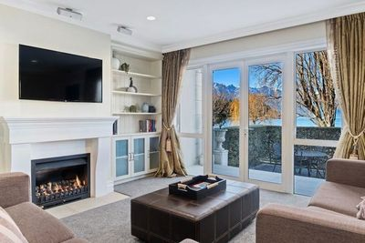 Living Room with Lakeside Views in Winter