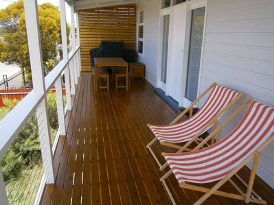 Upstairs Deck with Sea views