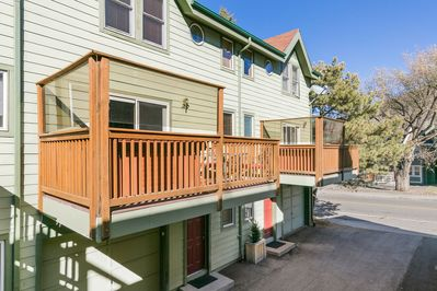 Front of townhome with private deck