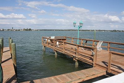 View from the deck of the pool-boat docks and fishing docks!