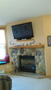 Fireplace and flat screen tv.