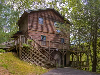 Photo for Log cabin overlooking the Watauga River & a serene pasture with Mountains