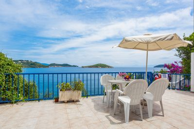 The sea view terrace, where you can take your meal or simply enjoy the view
