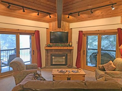 View of TV & Fireplace.
