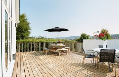 Large decked area at the front of the house with spectacular views