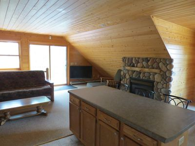 cozy fireplace to take chill off after snowmobiling, skiing, or hiking