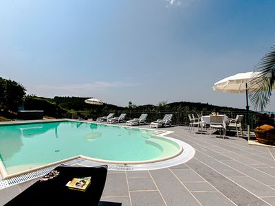 Photo for Stunning private villa with WIFI, private pool, hot tub, A/C, TV, terrace, panoramic view, parking