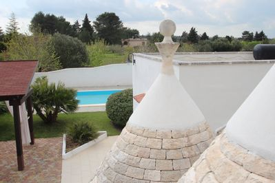 Views from the trullo roof across the countryside.