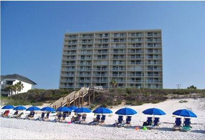Beachcrest from the water.  Beach service is available for a fee.