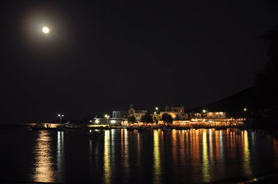 night village view with fullmoon