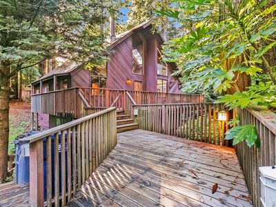 Photo for Tranquil, custom cabin in a redwood grove w/ deck - minutes to town/beaches!