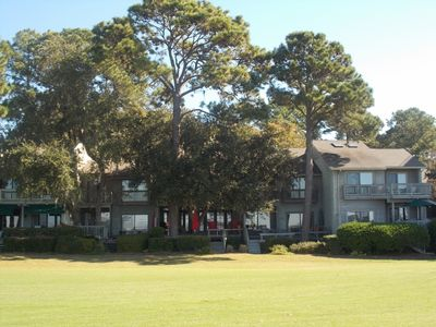 A view of the townhouse from the 18th green of Harbour Town Golf Course