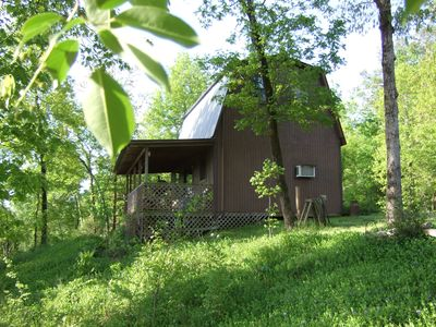 Enchanted cabin on a bluff overlooking the Ouachita River in the National Forest