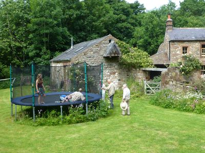Here is the detached studio for table tennis and pool and the trampoline outside