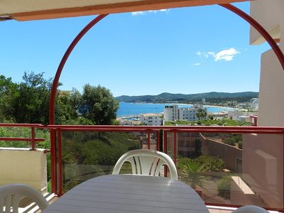 Photo for LAVANDOU-SEA VIEW. TERRACE 20M2. SWIMMING POOL. 3 ROOMS 6 PERS.