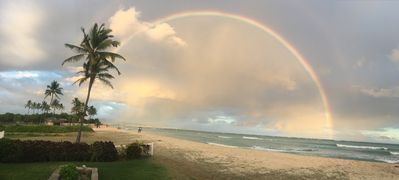 Rainbow over Waikiki from our back yard.