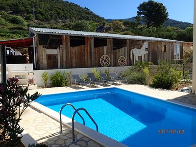 Pool and loungers with backdrop of olive groves and hills.