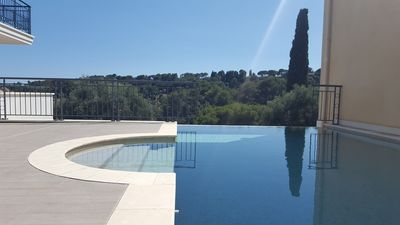 Photo for Luxury apartment sea view in the medieval village of Biot 3 km from the sea