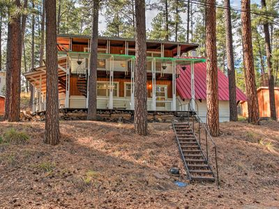 Photo for Secluded Ruidoso Cabin w/ Forest Views & Porch!