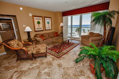 Living Room with view of balcony and the Gulf.