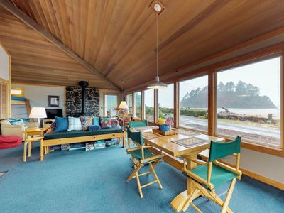 Photo for Oceanfront house with Proposal Rock views & rustic decor - walk to the beach!