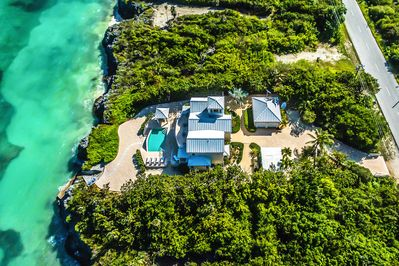 An aerial of Fishbones shows how private this home is.