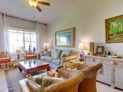 Island condo w/ private balcony and shared pool/hot tub, across from the beach