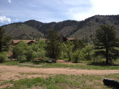The property from a distance. Vacation rental is building on the left.