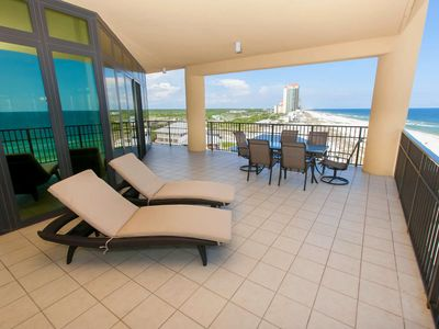 Photo for Outdoor living area!! East corner, 4/4.5 gulf front condo!