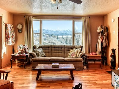 Photo for Historic cabin downtown w/ wood-burning stove & amazing mountain views!