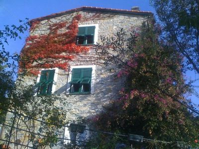 Photo for Rapallo: Rapallo: Il Casone (Unit Piano Nobile): beautiful restored country house near Portofino and beaches, 2-5 sleeps, terraces, pergola, garden, view, tv, wifi, pets ok