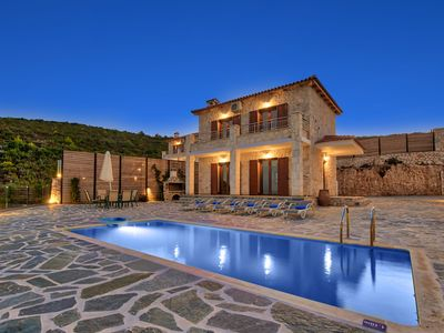 Photo for This 2-bedroom villa for up to 4 guests is located in Mikro Nisi and has a private swimming pool, ai