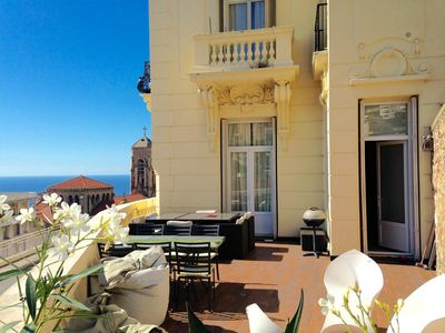 Photo for Flat in Beausoleil, Monaco: double glazing, terrace, sea view & paying parking