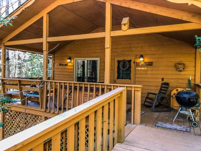Photo for Cozy Cabin on small creek with hot tub and firepit. Close to Helen.