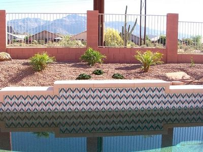 Pool and landscape area with Mountain Views
