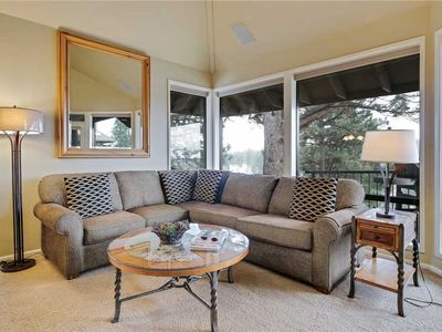 Photo for Private, two bedroom river view condo in Bend with gas fireplace and access to fitness center.