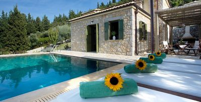 Photo for Traditional Style Stone Villa with A/C, Private Pool, Unique Views to the Ionian Sea & Mountains!