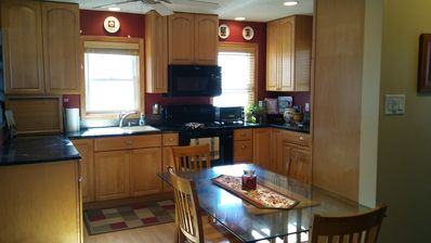 spacious kitchen, stocked with everything you need.