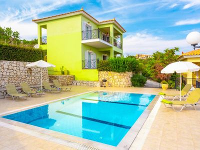 Photo for Skala Villa Green: Large Private Pool, Walk to Beach, Sea Views, A/C, WiFi