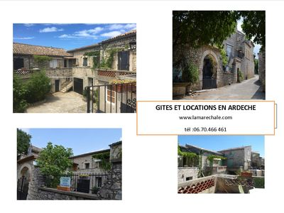 Photo for 4 apartments for stays in Ardèche large farmhouse with swimming pool