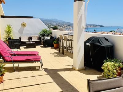 Photo for Luxurious accommodation with large terrace and stunning sea views