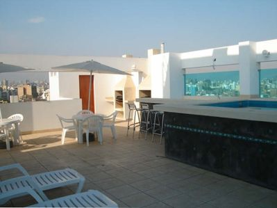 Roof top terrace and Sun Deck with bathroom, BBQ pits, Bar, Pool.