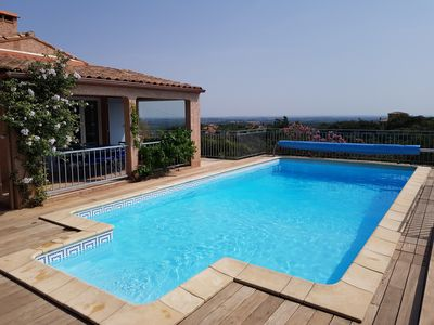 Photo for Air-conditioned villa with large swimming pool, superb panoramic view, classified ****