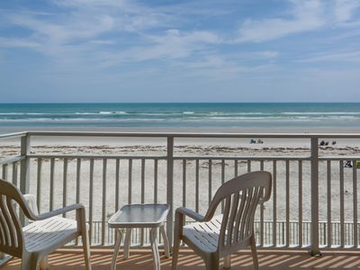 Photo for Gorgeous 2 bedroom 2 bath ocean front north corner condo.  SCG206