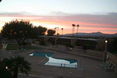 Sunrise view from the poolside bedroom deck